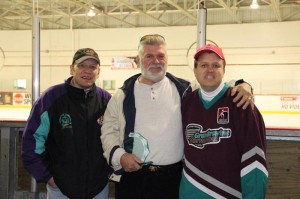Pat Flick (centre) with original players Jim Graziano and Ryan Inwood at the 30th anniversary of Grandravine.